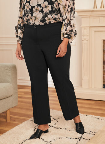 Modern Fit Wide Leg Pants, Black,  pants, modern, wide leg, pleats, stretchy, fall winter 2020