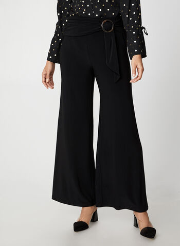 Wide Leg Jersey Pants, Black, hi-res,  canada, pants, jersey pants, jersey, wide leg, belt, pull on, comfortable, fall 2019, winter 2019