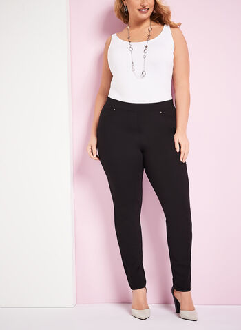 Ponte Pull-On Straight Leg Pants , , hi-res