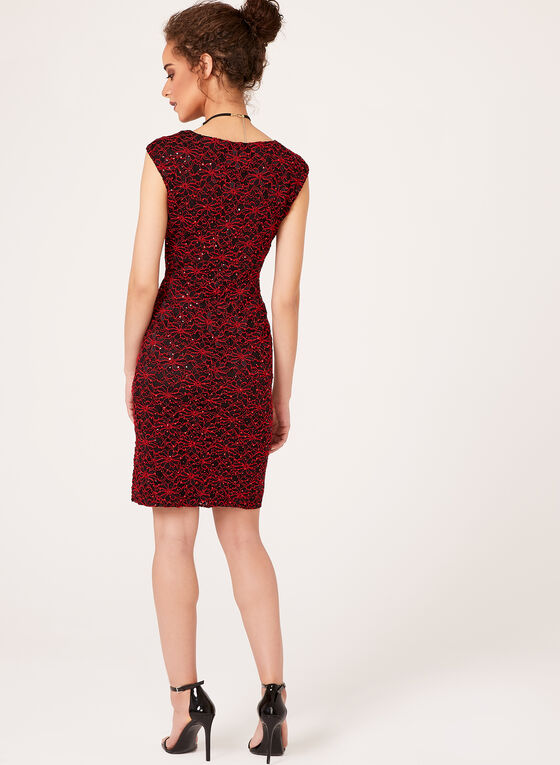 Floral Sequin Lace Dress , Red, hi-res