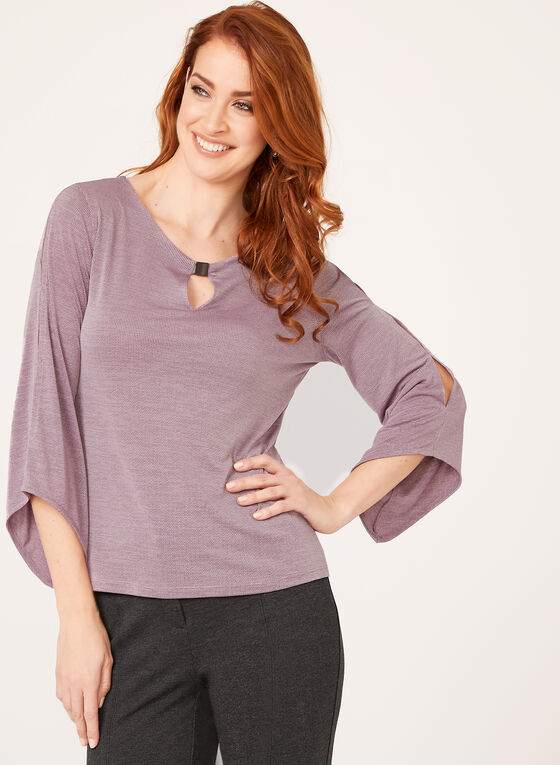 Keyhole Cross Knit Top, Purple, hi-res