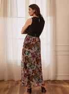 Robe maxi à jupe fleurie , Noir