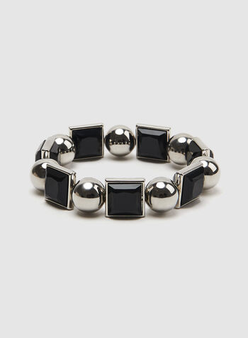 Square Crystal Stretch Bracelet, Black, hi-res