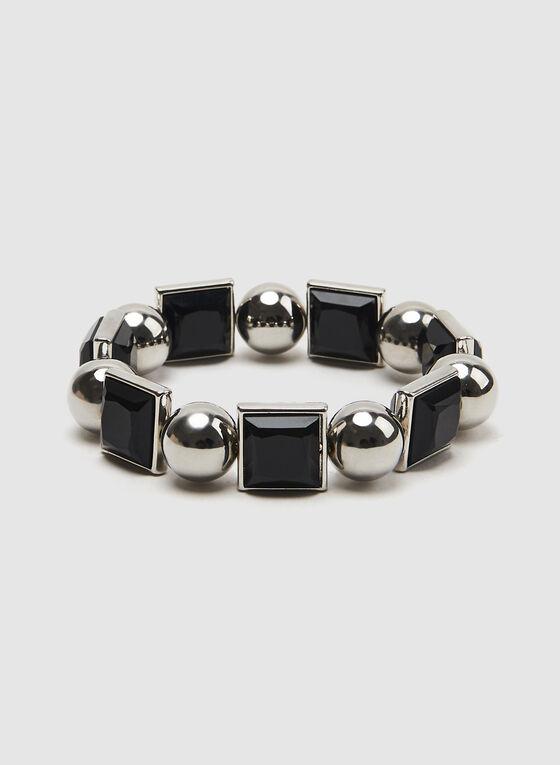 Bracelet extensible à billes et pierres carrées, Noir, hi-res