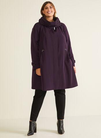 Manteau 3 saisons à grand col, Violet,  manteau, bouton, grand col, poches, automne hiver 2020