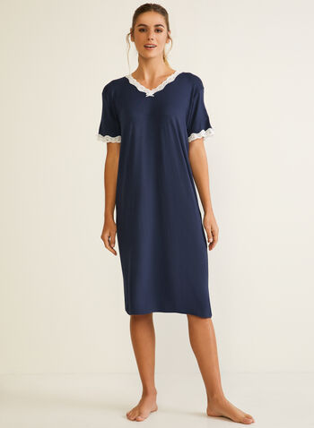 Lace Trim Detail Nightshirt, Blue,  fall winter 2020, nightshirt, lace, pyjama