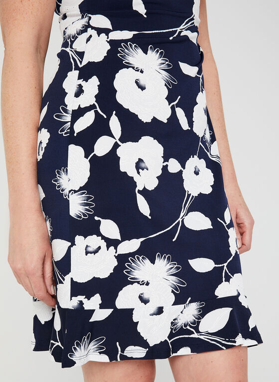 Floral Print Cowl Neck Dress, Blue