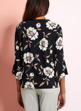 Floral Print Bell Sleeve Blouse, Black, hi-res