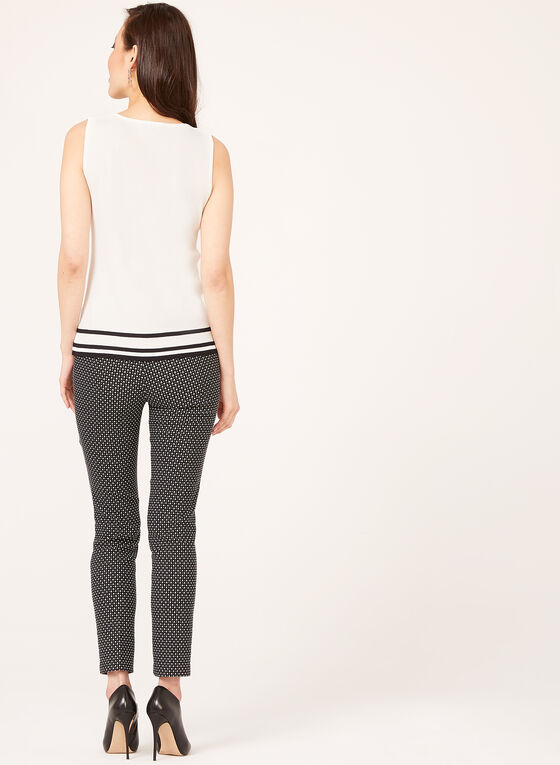 Sleeveless Stripe Hem Knit Top , White, hi-res