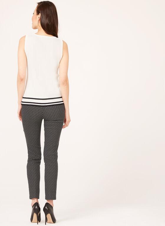 Haut tricoté sans manches avec rayures à l'ourlet, Blanc, hi-res