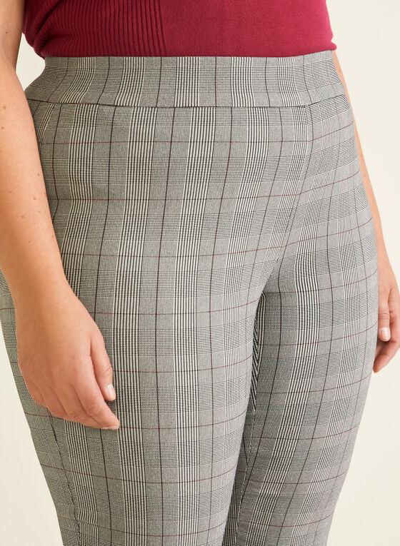 Tartan Print Pull-On Pants, Black