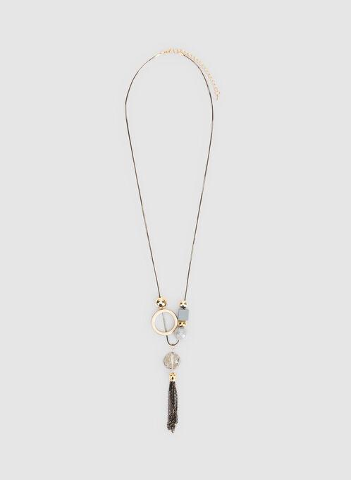 Multiple Pendant Tassel Necklace, Grey