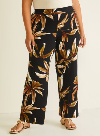 Tropical Print Wide Leg Pants, Black,  pants, wide leg, pull-on, jersey, tropical, spring summer 2020