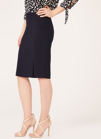 Front Slit Pencil Skirt, Blue, hi-res