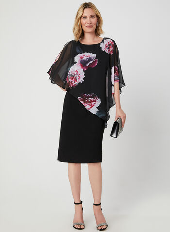 Floral Print Poncho Dress, Black, hi-res,  cocktail, poncho, chiffon, brooch, fall 2019, winter 2019