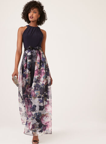 Floral Print Cleopatra Neck Dress, Black, hi-res