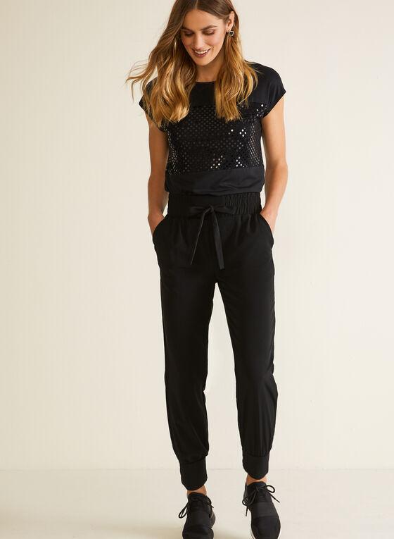 One - Pantalon à taille élastique et liens, Noir