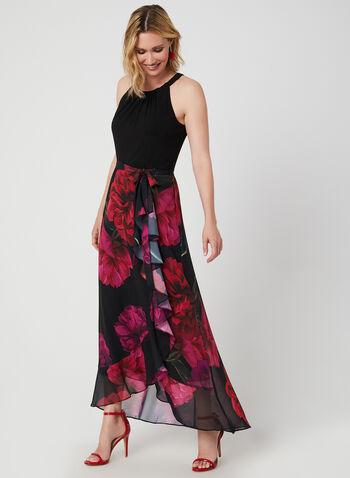 Floral Print Sleeveless Dress, Black, hi-res,  maxi, chiffon, cleo neck, sleeveless, fall 2019, winter 2019