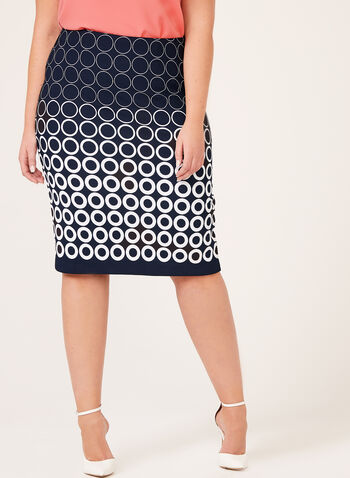 Geometric Print Pencil Skirt, Blue, hi-res