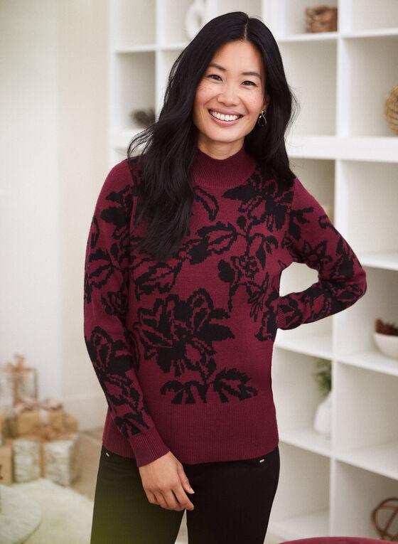 Floral Jacquard Mock Neck Sweater, Red