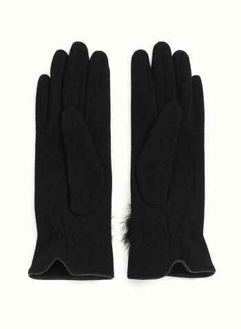 Fur Pom Pom Gloves, Black, hi-res