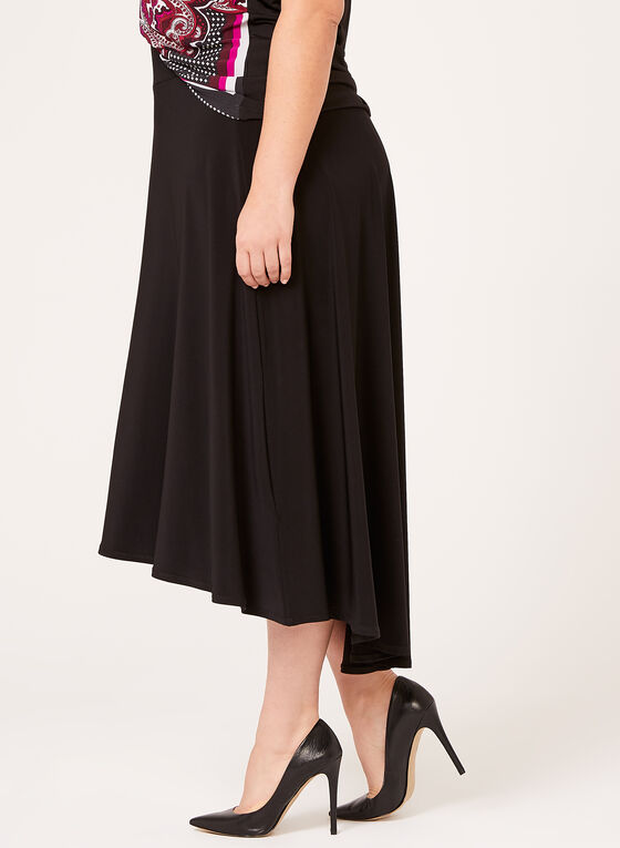 High Low Hem Pull-On Skirt , Black, hi-res