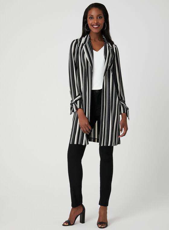 Stripe Print Duster, Black, hi-res