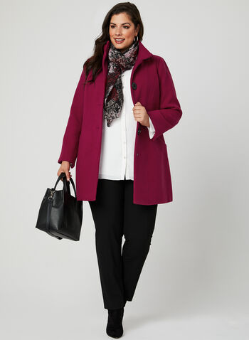Faux Wool Stand Collar Coat, Pink, hi-res