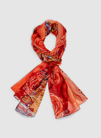 Foulard léger motif peinture, Rouge, hi-res