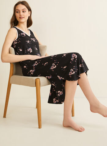 Comfort & Co. - Floral Print Nightgown, Black,  spring summer 2020, sleeveless, jersey fabric, floral, v-neck,