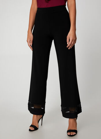 Mesh Wide Leg Pants, Black, hi-res,  pants, pull on, modern fit, wide leg, mesh, jersey, fall 2019, winter 2019