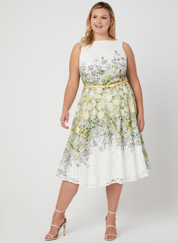 Fit & Flare Lace Dress, Green, hi-res
