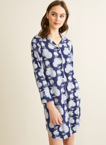 Comfort & Co. - Printed Button-Up Nightshirt, Blue,  pyjamas, sleepwear, stretchy, nightshirt, shirt collar, button-up, long sleeves, spring summer 2020