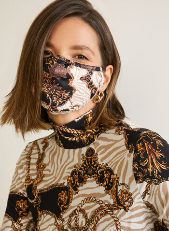Status Print Mask, Black,  mask, fabric, print, reusable, washable, fall winter 2020