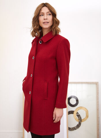 Stretch Faux Wool Structured Coat, Red,  fall winter 2020, faux wool, stretchy, wool like, shirt collar, stretch, princess seam, structured, button, satin lining, warm, winter