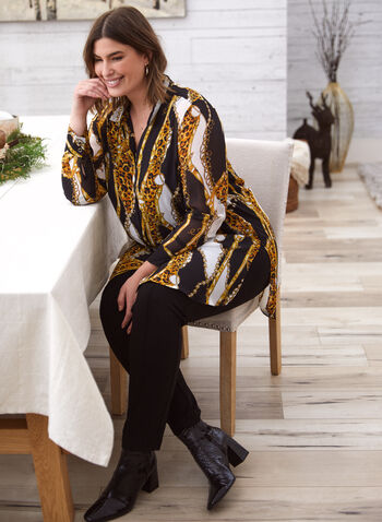 Chain Print Blouse, Black,  autumn winter 2020, muslin, chiffon, long blouse, tunic, buttoned, half sleeves, animal, pattern, print