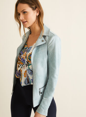 Faux Suede Jacket, Blue,  jacket, open front, faux suede, notch collar, long sleeves, shoulder pads, spring summer 2020