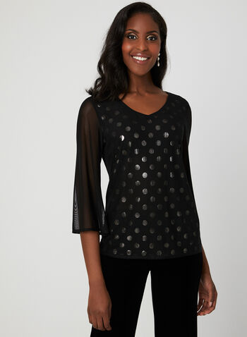 Polka Dot Print Mesh Top, Black, hi-res
