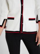 Cardigan à bordures contrastantes, Blanc