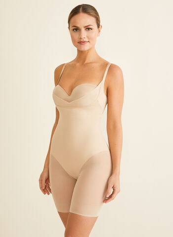 Sculpting Bodysuit, Off White,  shapewear, bodysuit, sculpting, mesh insert, huge straps, wonderful edge