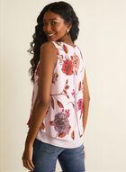 Sleeveless Floral Print Blouse, Purple