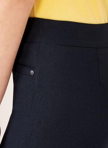 Pantalon pull-on à jambe droite en bengaline, Bleu, hi-res