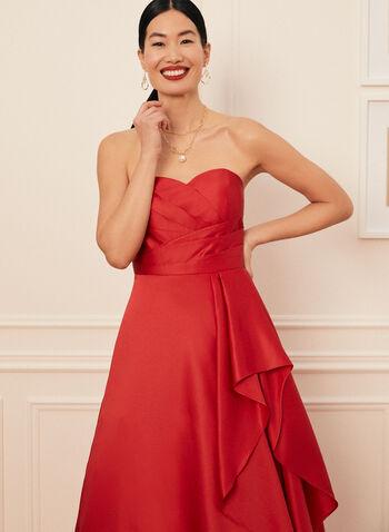 Strapless Sweetheart Neck Ball Gown, Red,  prom dress, ball gown, satin, sweetheart, strapless, pleated, flounce, full length, zipper, crinoline, spring summer 2021