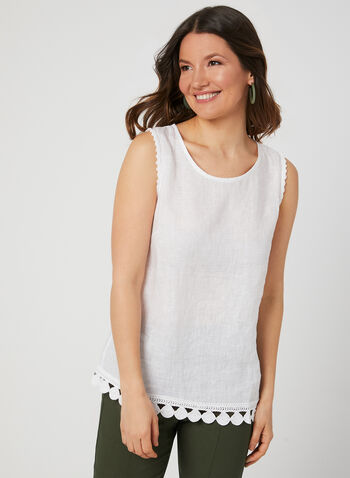 Charlie B - Sleeveless Linen Top, White, hi-res