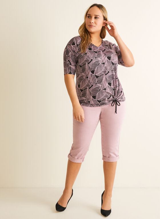Denim Pull-On Capri Pants, Purple