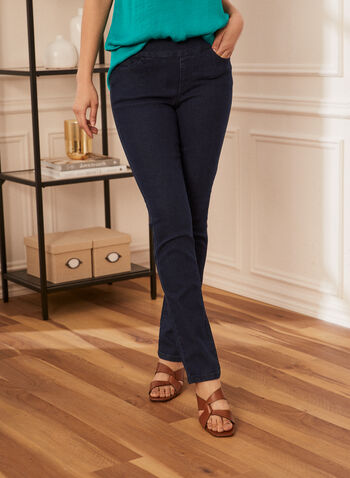 Pull-On Straight Leg Jeans, Blue,  spring summer 2021, denim, jeans, pants, straight leg, basic, pull on, elastic waist, pockets, stretch, comfort