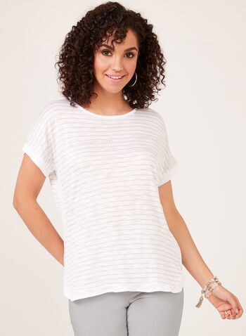 Stripe Print Short Sleeve Top, White, hi-res