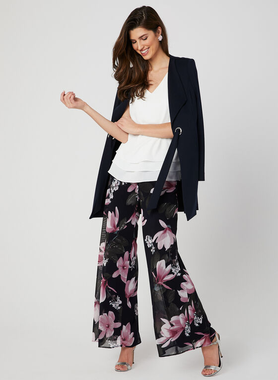 Modern Fit Floral Print Pants, Blue, hi-res