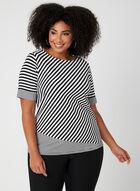 T-shirt à rayures multiples et cristaux, Noir, hi-res