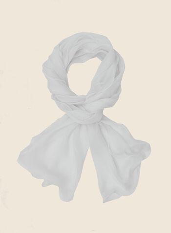 Foulard pashmina en mousseline, Blanc,  foulard, pashmina, mousseline, printemps été 2020